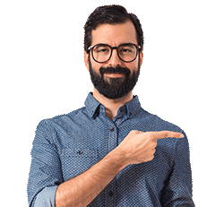 man pointing at used cars under $3000 banner